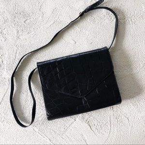 vintage croc embossed envelope crossbody